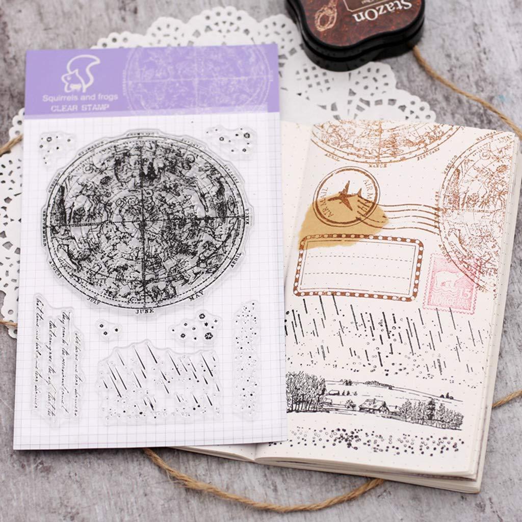 ECMQS Konstellation DIY Transparente Briefmarke Schneiden Schablonen Clear Stamps Bastelei Scrapbooking-Werkzeug Silikon Stempel Set
