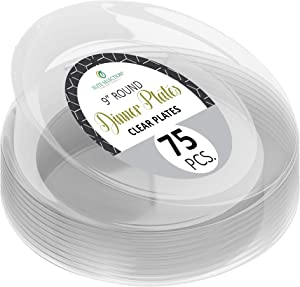 "Clear Disposable Plastic Plates Pack Of (75) Elegant Dinner Plates Wedding - Platter Plates - Party Plates - Fancy Disposable - Catering - Heavy Duty & Non-Toxic 9"" Clear Plates by ELITE SELECTION"