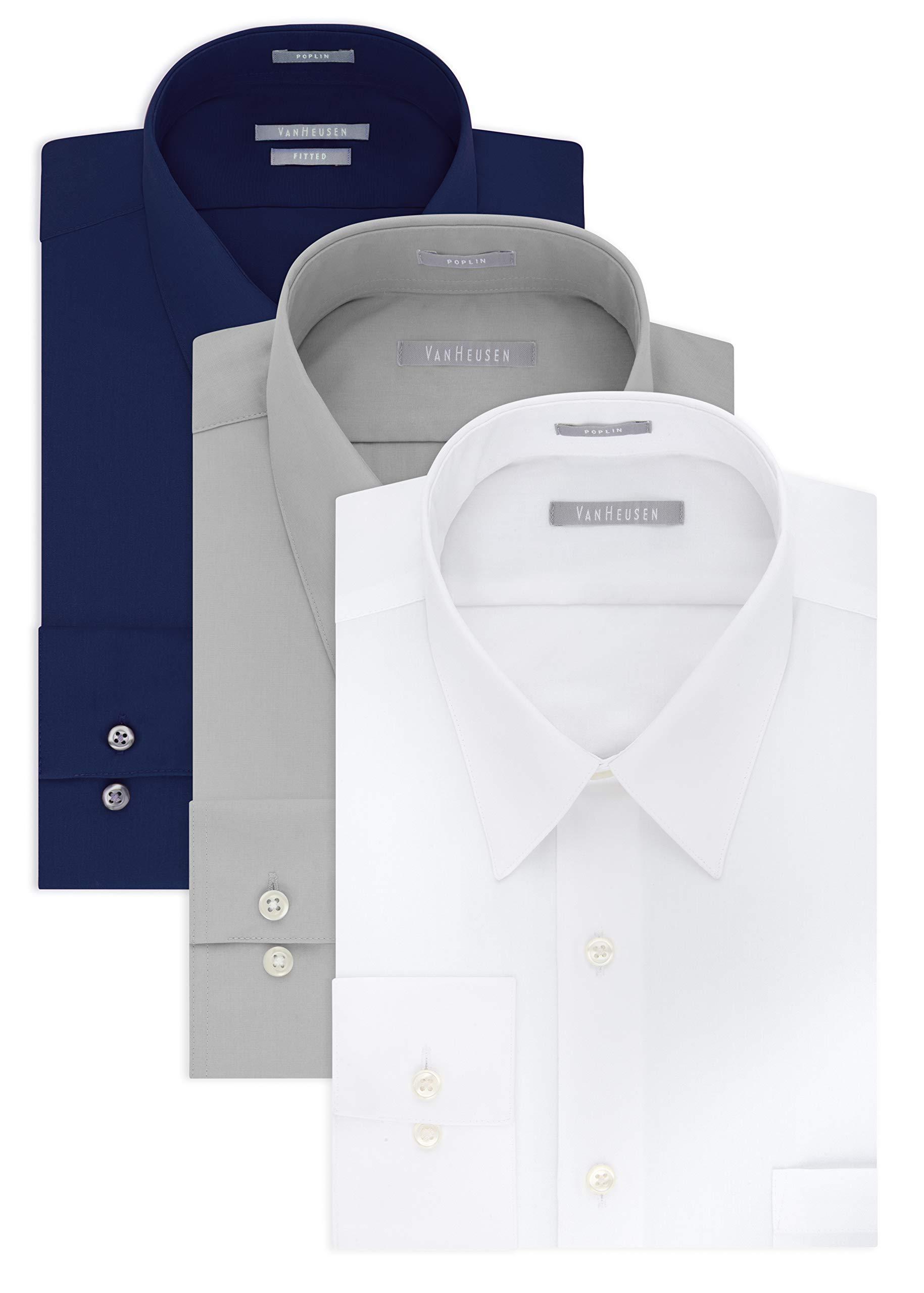 Van Heusen Men's Poplin Fitted Solid Point Collar Dress Shirt, White/Grey Stone/Persian Blue, 17.5''