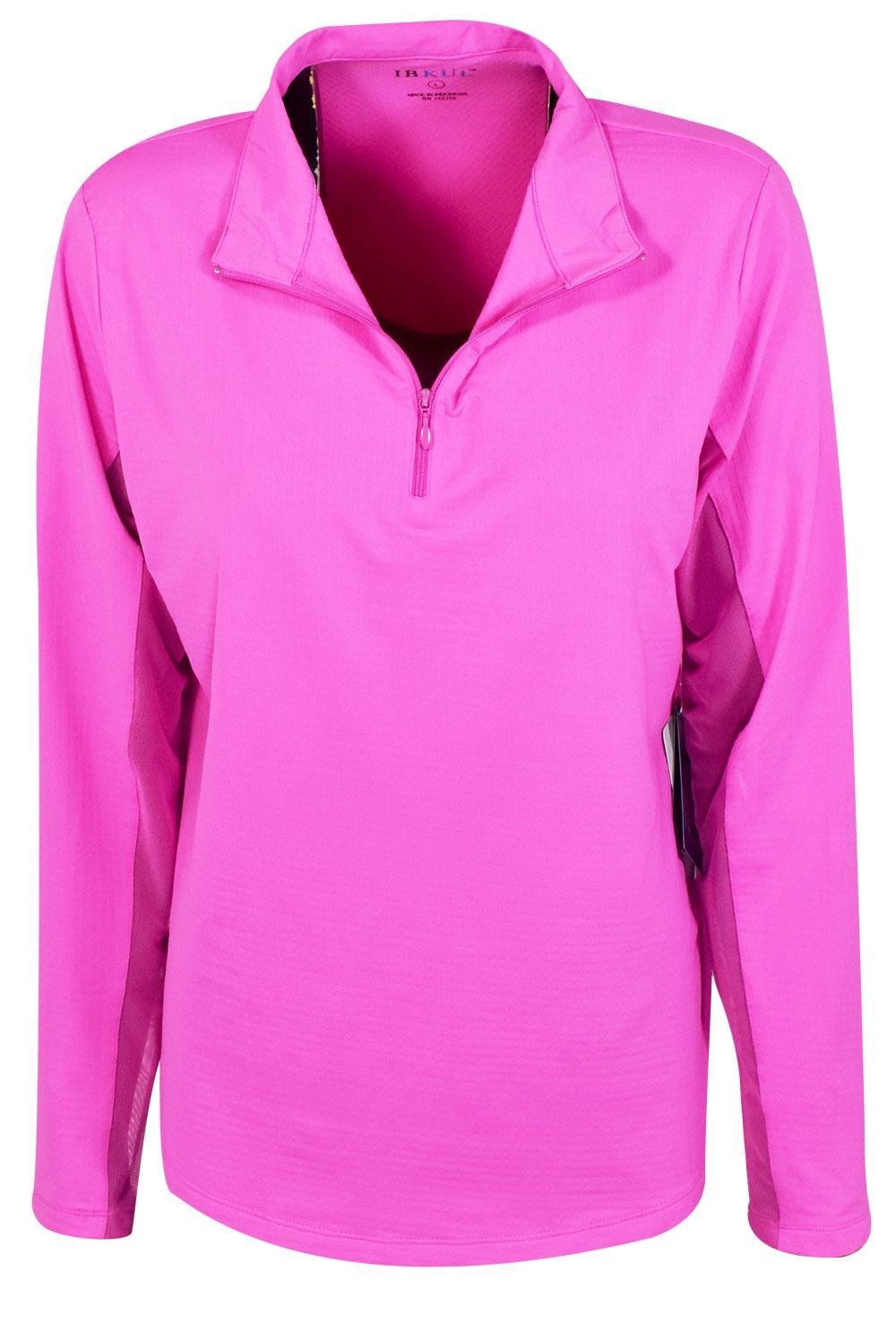 IBKUL Golf- Ladies Long Sleeve 1/4 Zip Mock Hot Pink M by IBKUL