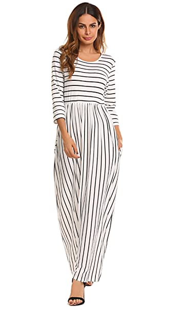 19816310523 SimpleFun Women s Fall Casual Loose Long Dress with Pockets 3 4 Long Sleeve  Striped Maxi