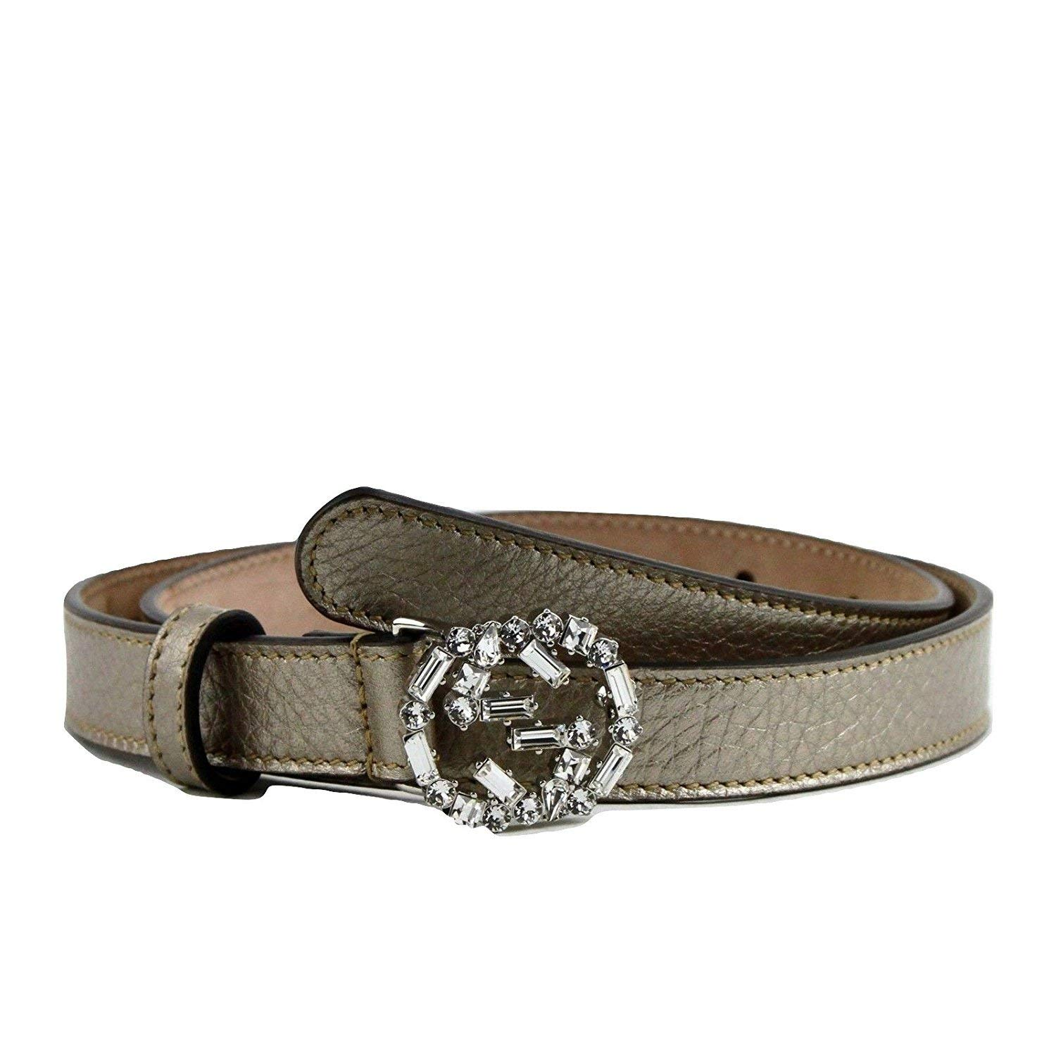 Gucci Women's Metallic Beige Leather Skinny Belt Crystal Interlocking G Buckle 354380 9524 (105/42)
