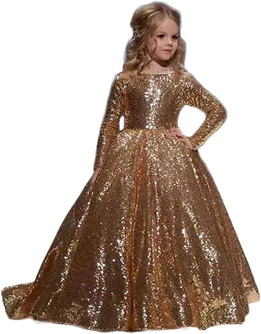 Abiti Eleganti Da Bambina.Principessa Oro Lucido Abiti Eleganti Bambina Partito Vestiti Da
