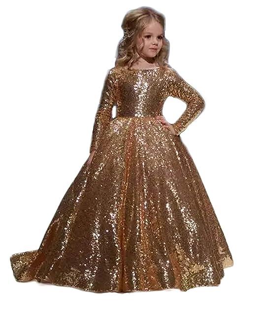 0b42ec6191b53 Principessa Oro lucido Abiti Eleganti Bambina Partito Vestiti Da Cerimonia  Fiore Bambini Ragazza Vestito Formale Matrimonio Vestito Da Damigella  Amazon.it ...