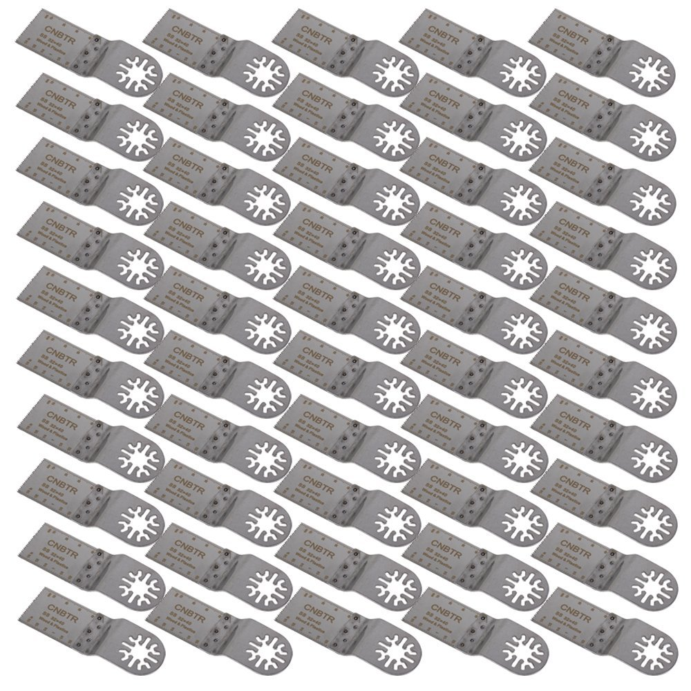 CNBTR Silver 32x40mm Stainless Steel Saw Blades Oscillating Multitool Precision Universal Saw Blades Set of 50