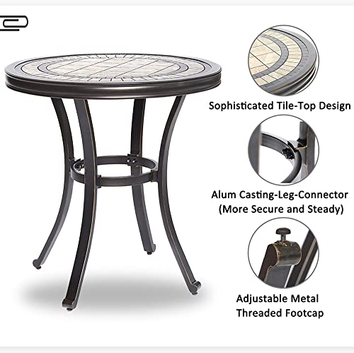 dali Handmade Dining Table Contemporary Round a Tile-Top Design