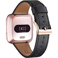 WFEAGL for Fitbit Versa Bands, Top Grain Leather Band Replacement Strap for Fitbit Versa Fitness Smart Watch