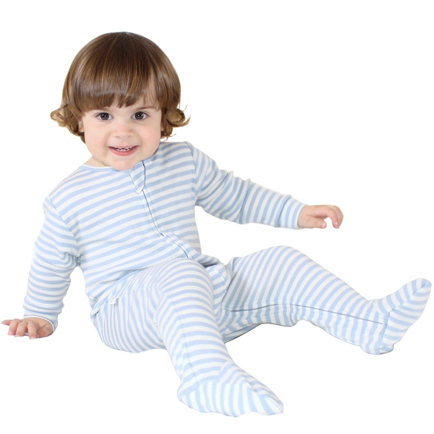 Woolino Footie Sleeper, 100% Superfine Merino Wool Sleeper, 0-3 Months, Blue