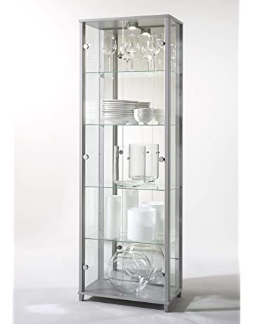 aea1403d9699 HOME Double Glass Display Cabinet Silver with 4 Moveable Glass Shelves