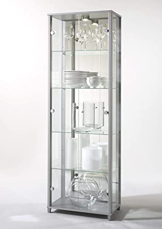 home double glass display cabinet silver with 4 moveable glass rh amazon co uk  silver glass display cabinet argos