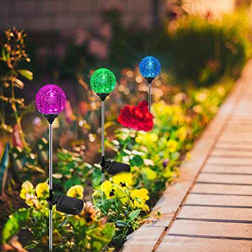 Solar Globe Lights, OxyLED 6 Pack Crystal Glass LED Light Solar Stake Light, Color-Changing Outdoor Landscape Garden Light Decoration, Halloween Christmas Garden Decor