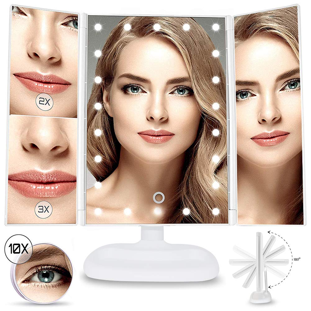 Vanity Mirror, Makeup Mirror LED Lighted Mirror Tri-Fold 1x 2X 3X 10X Magnifying Makeup Vanity Mirror with 22 LED Lights, Touch Screen Adjustment Brightness, Dual Power Supply (White) - Amazon Vine FC