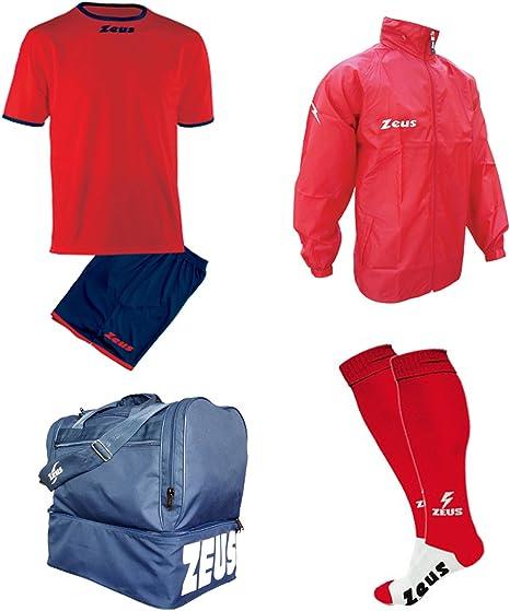 Zeus - Kit de calcetín Adhesivo + Bolsa y K-Way - Futbolín de Entrenamiento Completo - Bolsa Impermeable, Rosso-BLU, XX-Large: Amazon.es: Deportes y aire libre