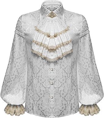 Devil Fashion Gótico para Hombre Camisa Top Blanco Brocado Steampunk Aristocrat + Corbata: Amazon.es: Ropa y accesorios