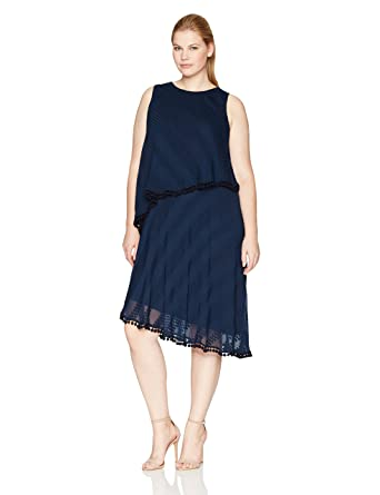 d068c67fe82 London Times Women s Plus Size Sleeveless Shift Dress w. Asymetrical ...
