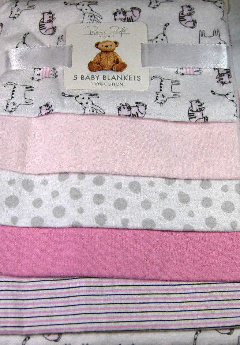 Rene Rofe 5 Pk.Soft Flannel Baby Girls Receiving Blankets  Pink and White Bon Bebe