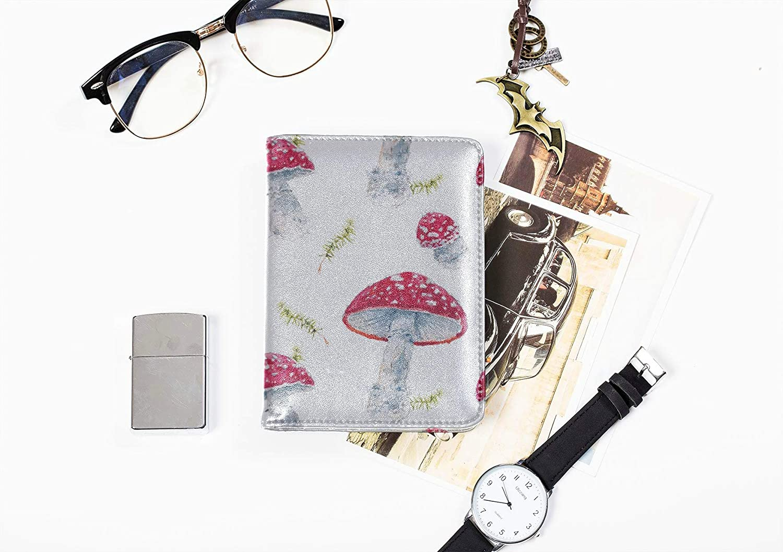 Passport Cover Large Forest Natural Mountain Mushroom Womens Passport Case Multi Purpose Print Passport Holder Case Wallet Travel Wallets For Unisex 5.51x4.37 Inch