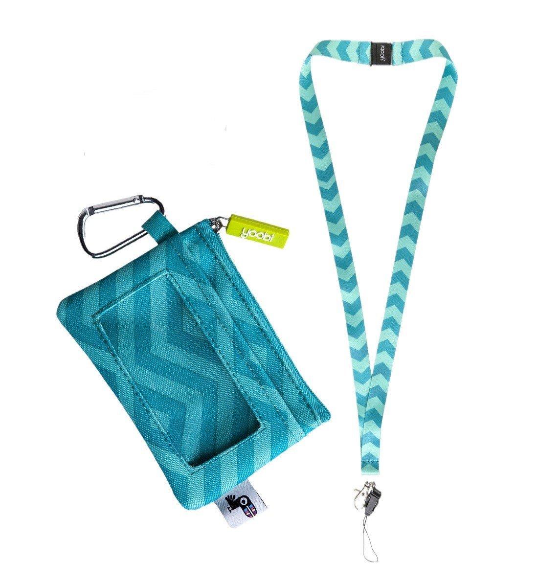 Yoobi Coin Purse - Student ID Case Holder and Lanyard Aqua Chevron Set