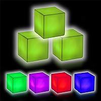 Relaxdays Led-kubus in 3-delige set, led-nachtlampje, lichtkubus met kleurverandering, draadloos, decoratie, 6,5 x 6,5 x…