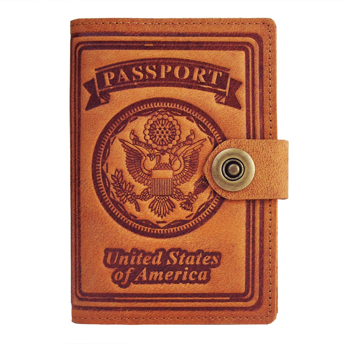 Passport Wallet, Schumarson Genuine Leather RFID Blocking US Passport Holder Cover ID Card Wallet - Yellow
