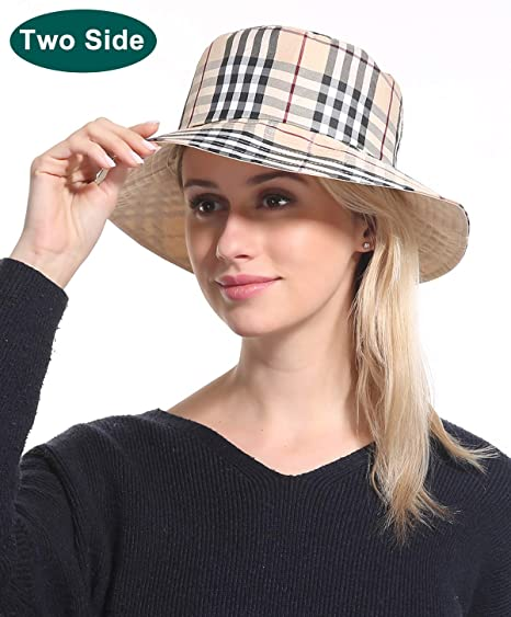1d889afdb06 Bucket Sun Hat Women Cap - Cotton Plaid Beige Sun Protection Funny Summer  Tourist Fishing Beach