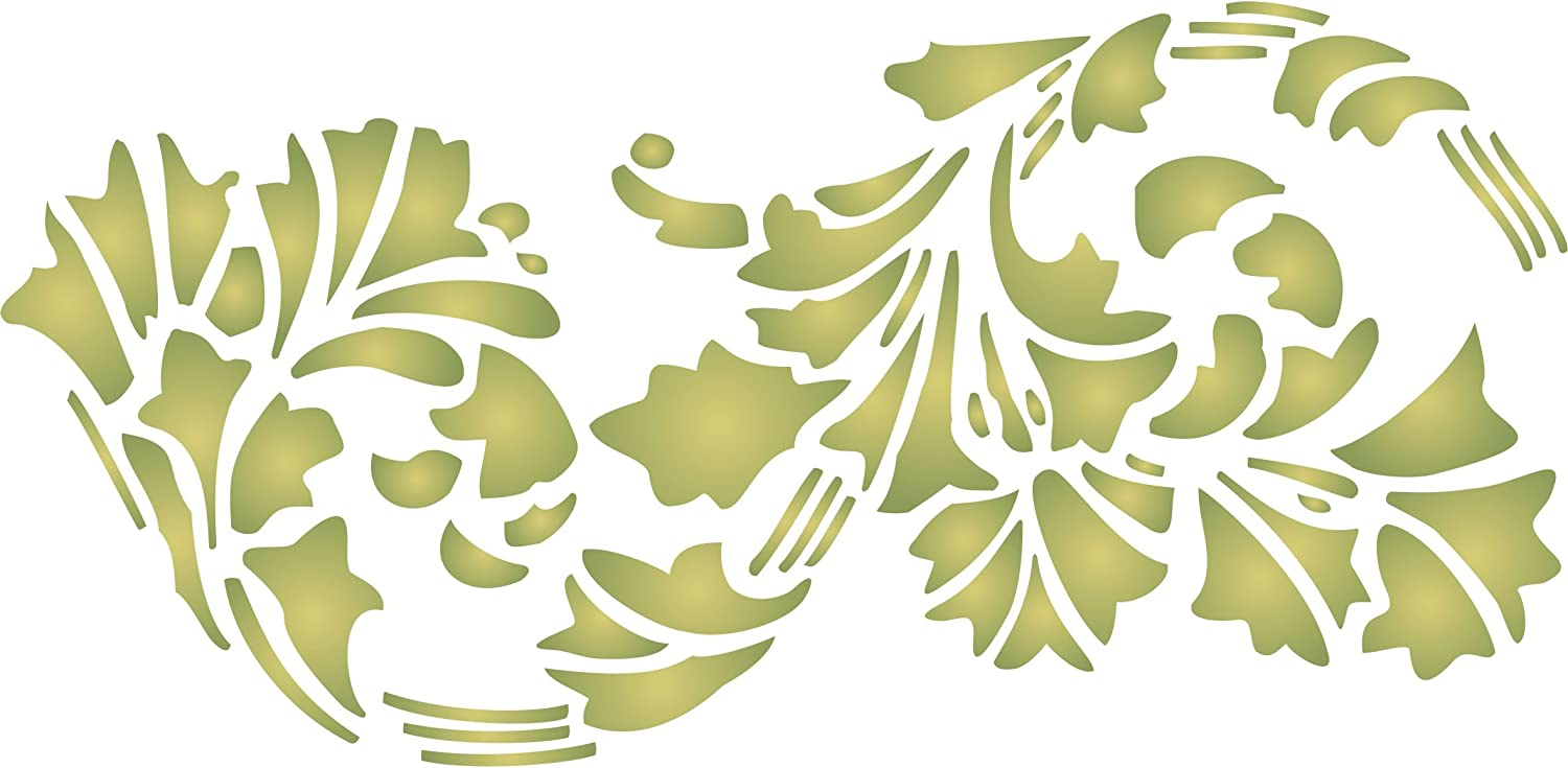 Leaf Stencil, 10.5 x 5 inch (S) - Art Nouveau Vintage Leaves Border Stencils for Painting Template