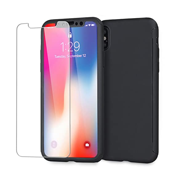 huge selection of c82d8 5c548 iPhone X Case with Screen Protector - Full Cover Case – 360 Degree Coverage  - Front and Back Protection - Tempered Glass Screen Protector - Olixar ...
