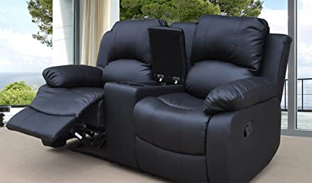 Lovesofas Valencia 2 seater bonded leather recliner sofa with drinks console Black