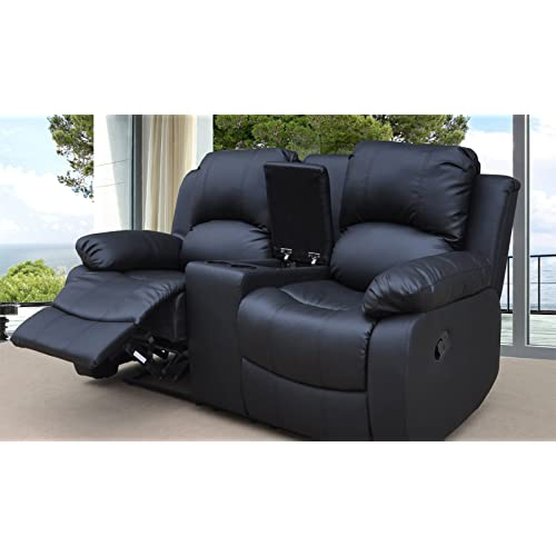 Merveilleux Lovesofas Valencia 2 Seater Bonded Leather Recliner Sofa With Drinks  Console   Black
