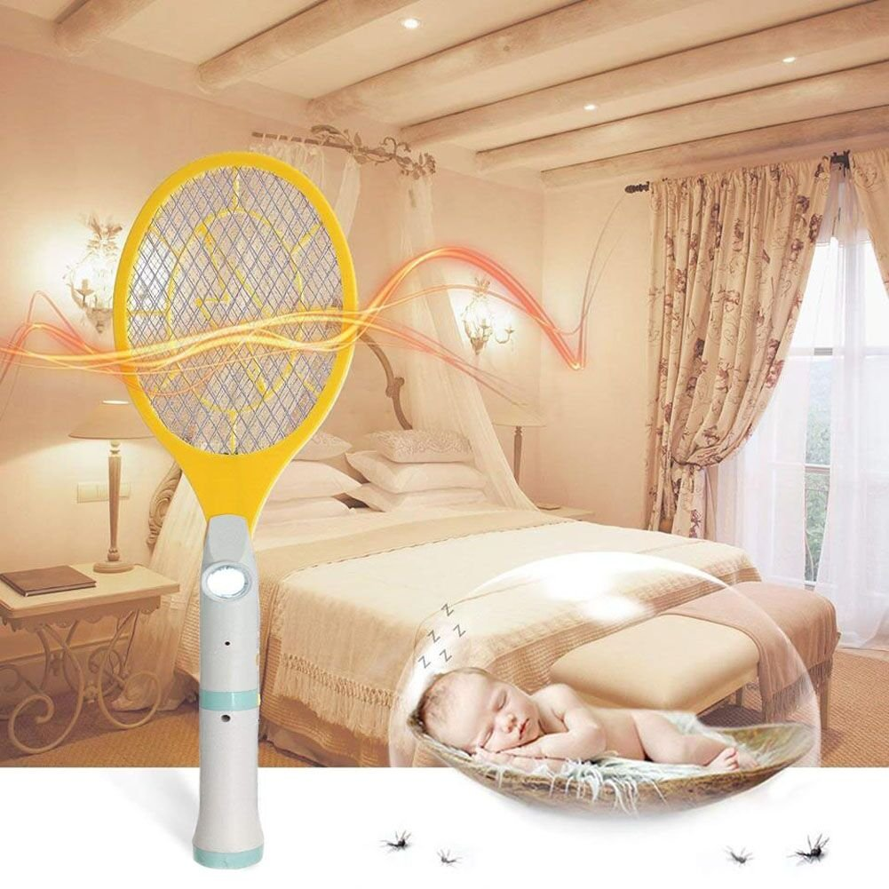 Electric Fly Swatter - Rechargeable Bug Zapper, Fruit Fly Killer, Mosquitoes Racket Killer Recquet 4000 Volt, USB Charging, Super-Bright LED Light to Zap in The Dark - Safe to Touch, 3-LED Torch Dynas