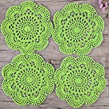 ZORJAR Placemats Round Table Mats Cotton Handmade Crochet Lace Placemats Washable Placemats For Kitchen Placemats,Dining Table Mats,Glass Placemats,Coffee Placemats,7.8 Inch,Set of 4 (Light Green)