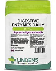 Lindens Compresse giornaliere di enzimi digestivi | 90 Confezione | Contiene betaina HCL, papaina, amilasi e lipasi che favoriscono la digestione