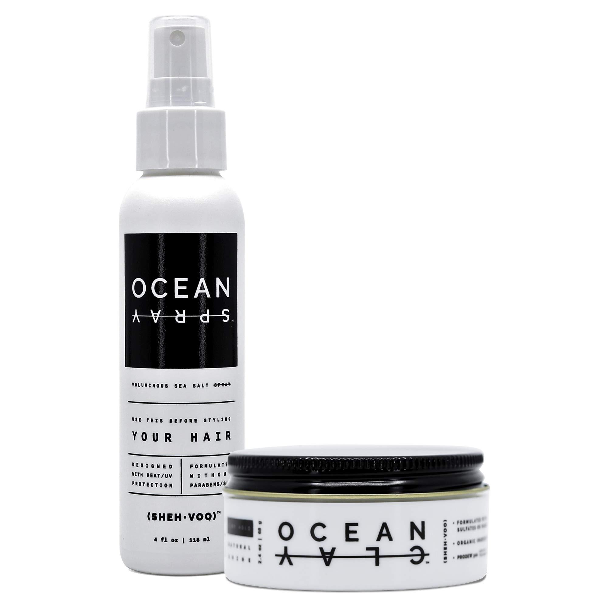 (SHEH•VOO) DUO STYLER KIT - (1) Ocean Clay (1) Ocean Sea Salt Spray by SHEHVOO