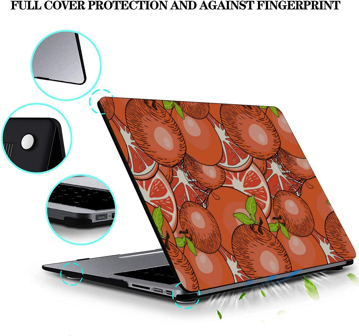 Mac Air Cover Summer Fruit Grapefruit Green Leaf Plastic Hard Shell Compatible Mac Air 11 Pro 13 15 A1466 MacBook Air Case Protection for MacBook 2016-2019 Version