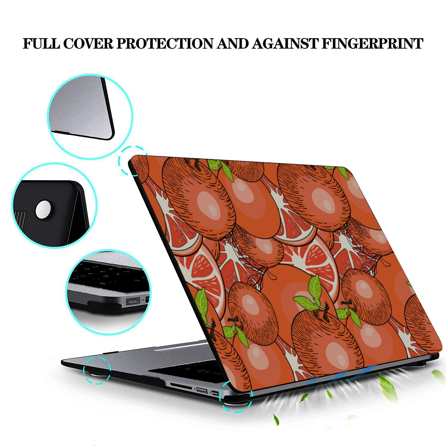 Mac Computer Case Summer Fruit Grapefruit Green Leaf Plastic Hard Shell Compatible Mac Air 11 Pro 13 15 Mackbook Pro Case Protection for MacBook 2016-2019 Version