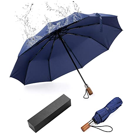 EKKONG Paraguas Plegable Automático Antiviento, Mango de Madera,Paraguas de Viaje portátil para Hombres