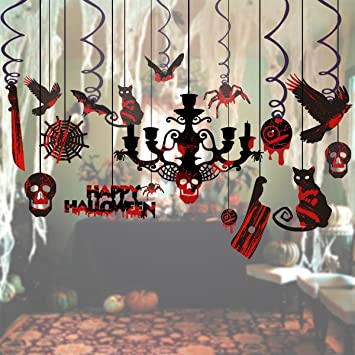 unomor halloween hanging decorations creepy swirl ceiling party decorating kit for haunted house 17pcs - Halloween Hanging Decorations