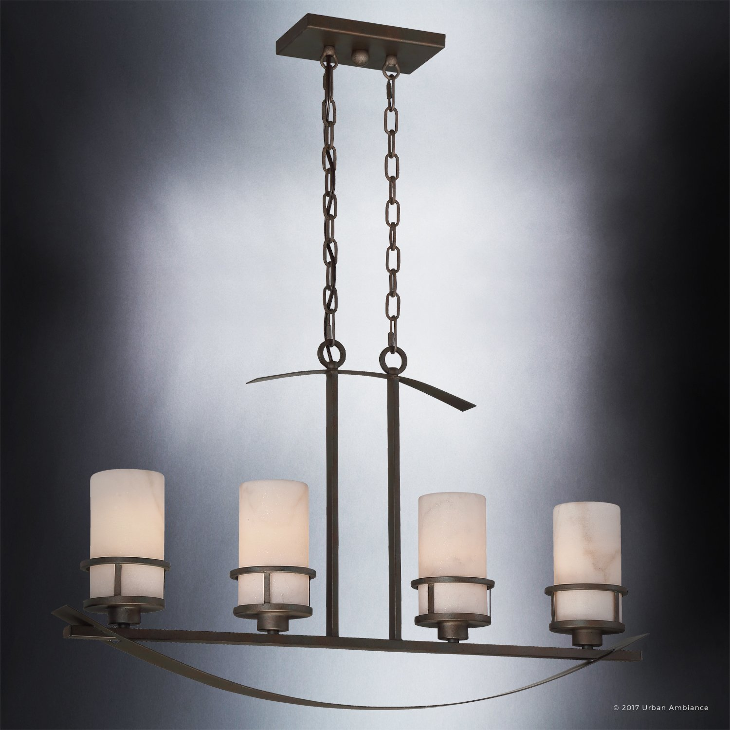 Luxury Rustic Chandelier, Large Size: 18.5''H x 32.5''W, with Craftsman Style Elements, Banded Wrought Iron Design, Forged Iron Finish and White Onyx Stone Shades, UQL2415 by Urban Ambiance by Urban Ambiance (Image #3)