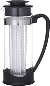 LEAF & BEAN D8044 Lisbon Iced Tea Jug, Glass, Stainless Steel, Black