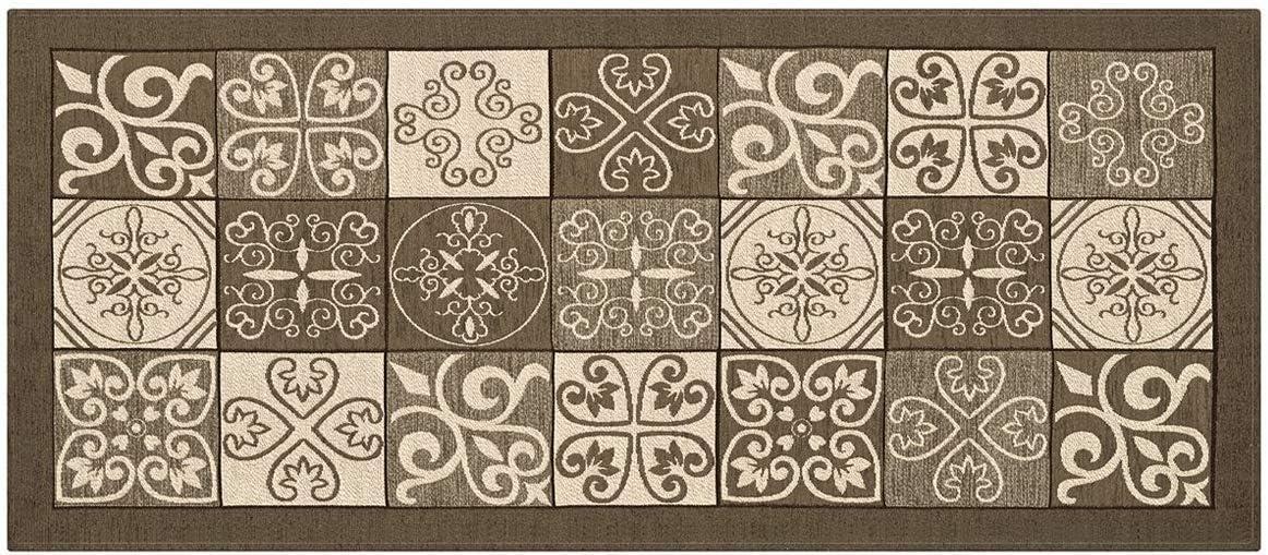 moderne avec motif fa/ïence tapis de couloir color/é fabriqu/é en Italie 58X80 taupe lavable HomeLife Tapis de cuisine anti-taches et antid/érapant