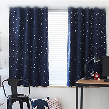 WPKIRA Window Treatments Short Curtains Grommet Room Darkening Stars Print  Blackout Window Curtains Panels Drapes For