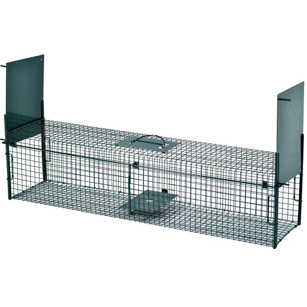 Trampa de alambre para capturar animales vivos 103 x 25 x 25 cm con 2 entradas / Trampa con marco reforzado y revestimiento en polvo para roedores que ...