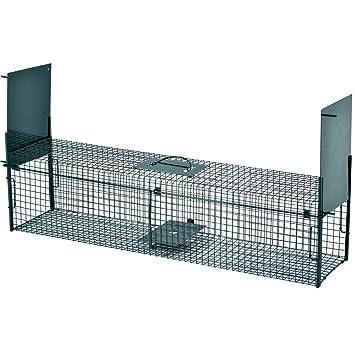 Trampa de alambre para capturar animales vivos 103 x 25 x 25 cm con 2 entradas