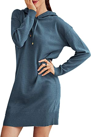 Simplee Women's Knit Long Sleeve Sweater Dress Hooded Long Pullover Sweater Dresses at Amazon Women's Clothing store