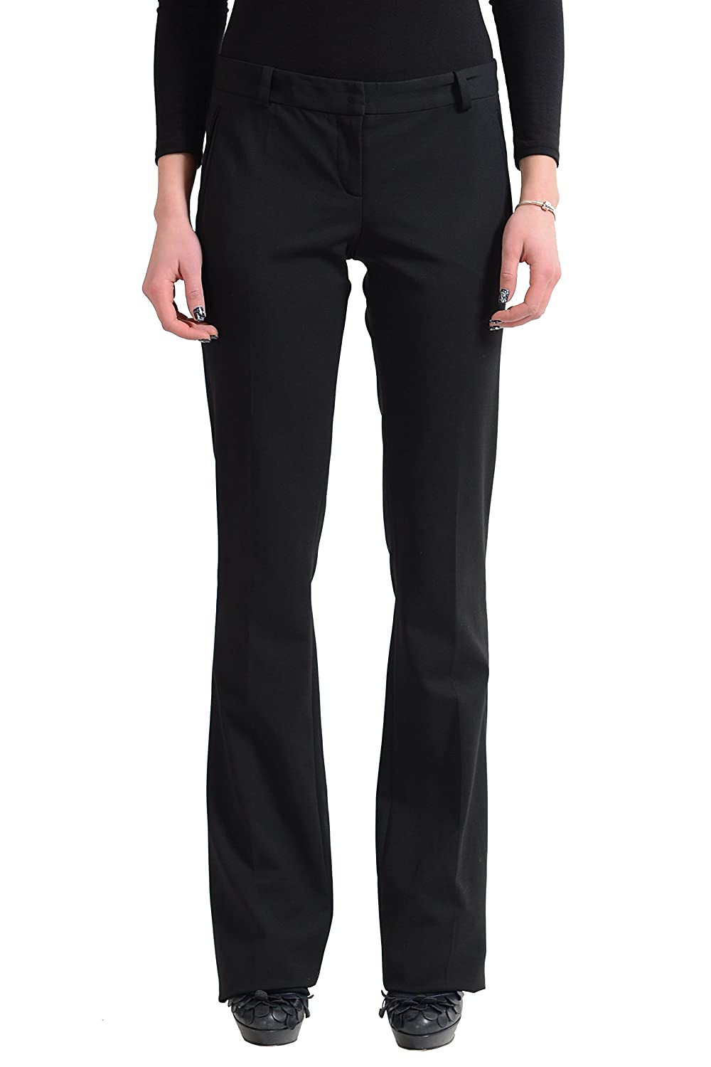 Versace Wool Black Flat Front Women's Casual Pants US 2 IT 38