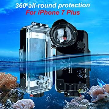 the best attitude 67901 37954 iPhone 7 Plus/8 Plus Black Waterproof Case,Sea Frogs 195FT/60M IPX8  Certified Waterproof Underwater Swimming Diving Surfing Snorkeling case  with Wide ...