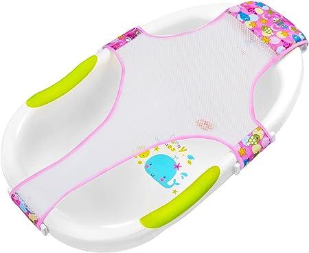 MATERIAL:Hamaca para bañera bebe es de material red poliéster y hebilla,es transpirable y antidesliz