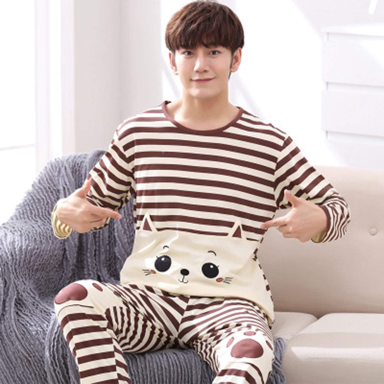 crazy-shop Cotton Pajama Set for Men Tshirt O-Neck Plus Size Underwear Long Sleeve Pajama Sleepwear Nightwear Male,1610,XXL