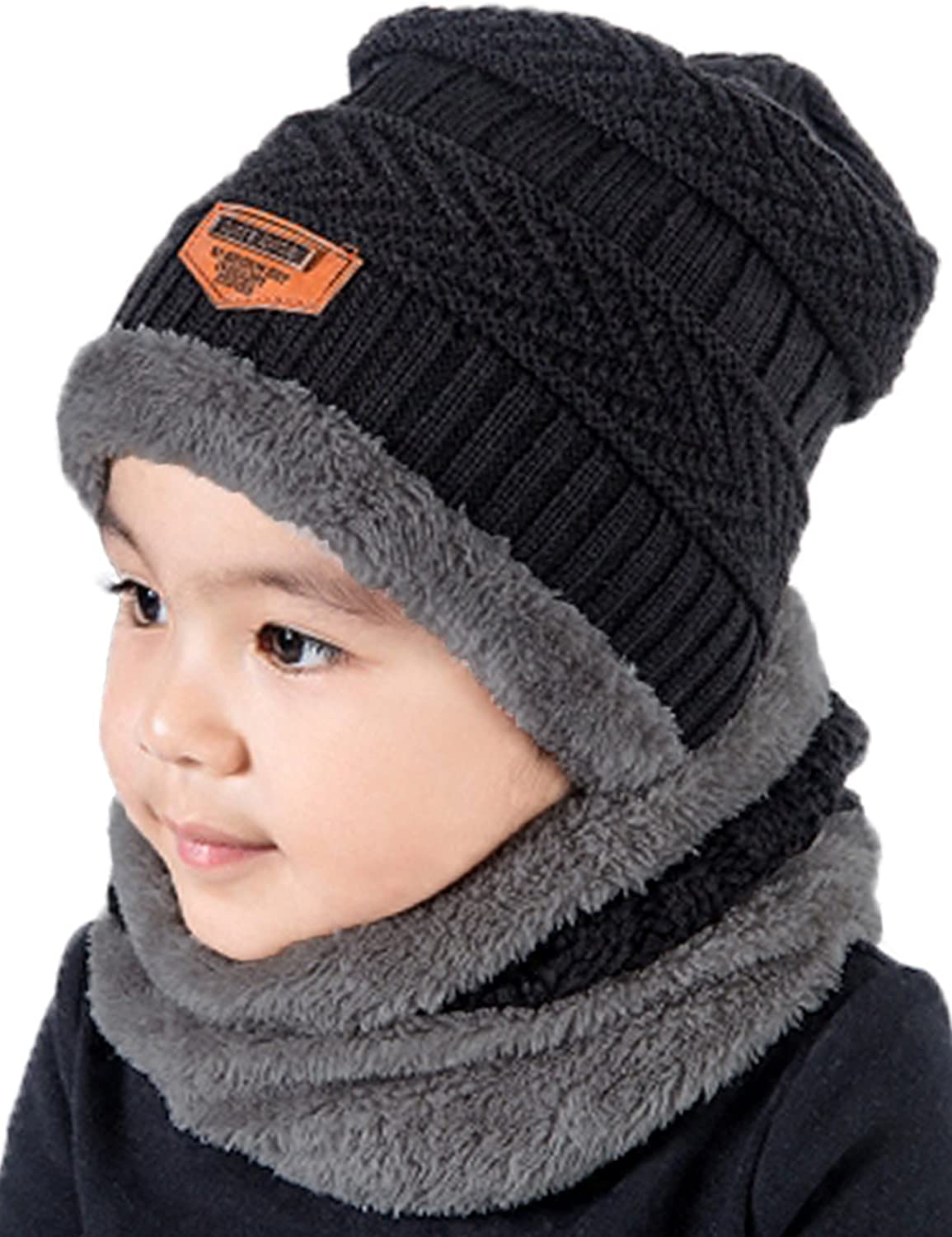 T WILKER 2Pcs Kids Winter Knitted Hats+Scarf Set Warm Fleece...