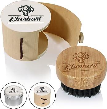 Eberbart Cepillo para barba + estuche de viaje de madera – De cerdas de jabali ideal para el cuidado de la barba (Redondo): Amazon.es: Salud y cuidado personal
